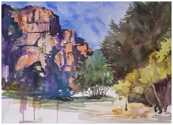 sedona cliffside | Angela Fehr watercolours