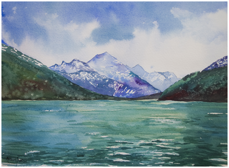 """Waterton's Wake II"" watercolour by Angela Fehr"