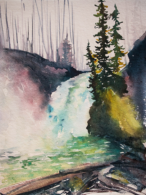 Red Deer Falls, watercolour by Angela Fehr https://angelafehr.com