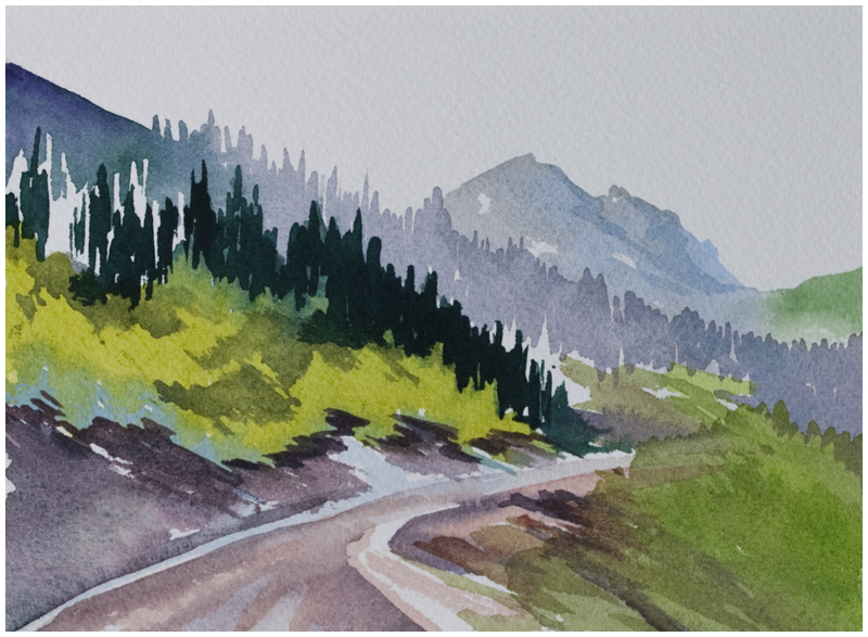 Red Deer Trail, watercolour by Angela Fehr https://angelafehr.com