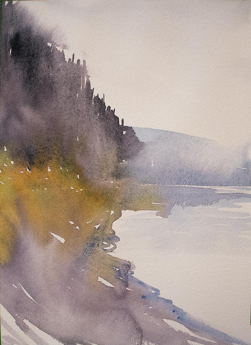 River shape study one layer watercolour by Angela Fehr https://angelafehr.com