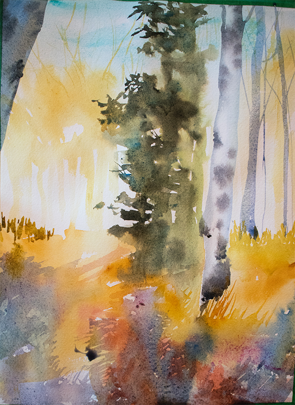 A Walk in the Forest: watercolor by Angela Fehr https://angelafehr.com