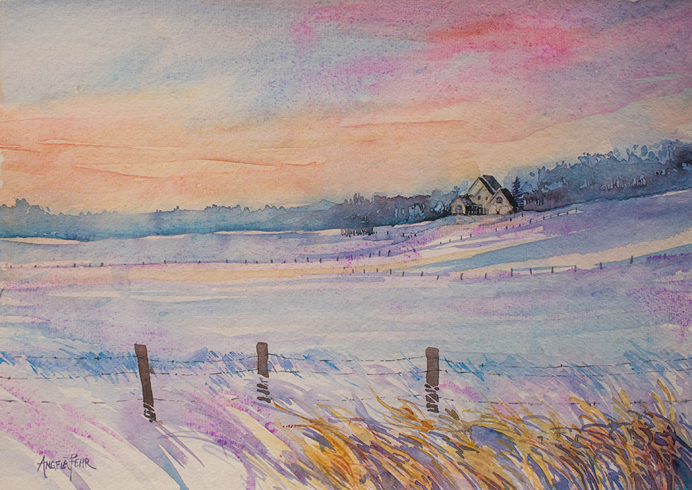 Dusk on Briar Ridge, watercolour by Angela Fehr https://angelafehr.com