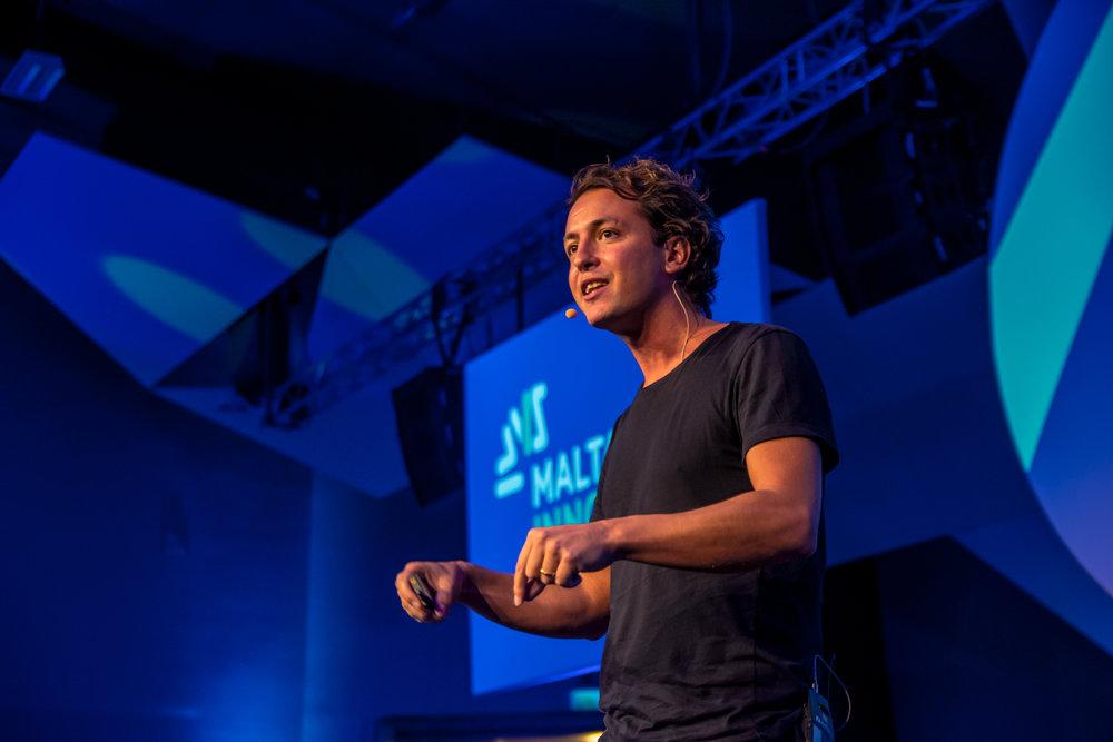 Jonathan Mizzi speaking at the Malta Innovation Summit