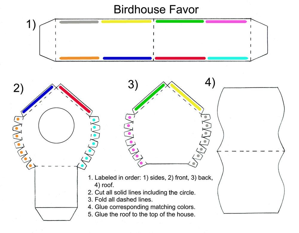Birdhouse Favor Template