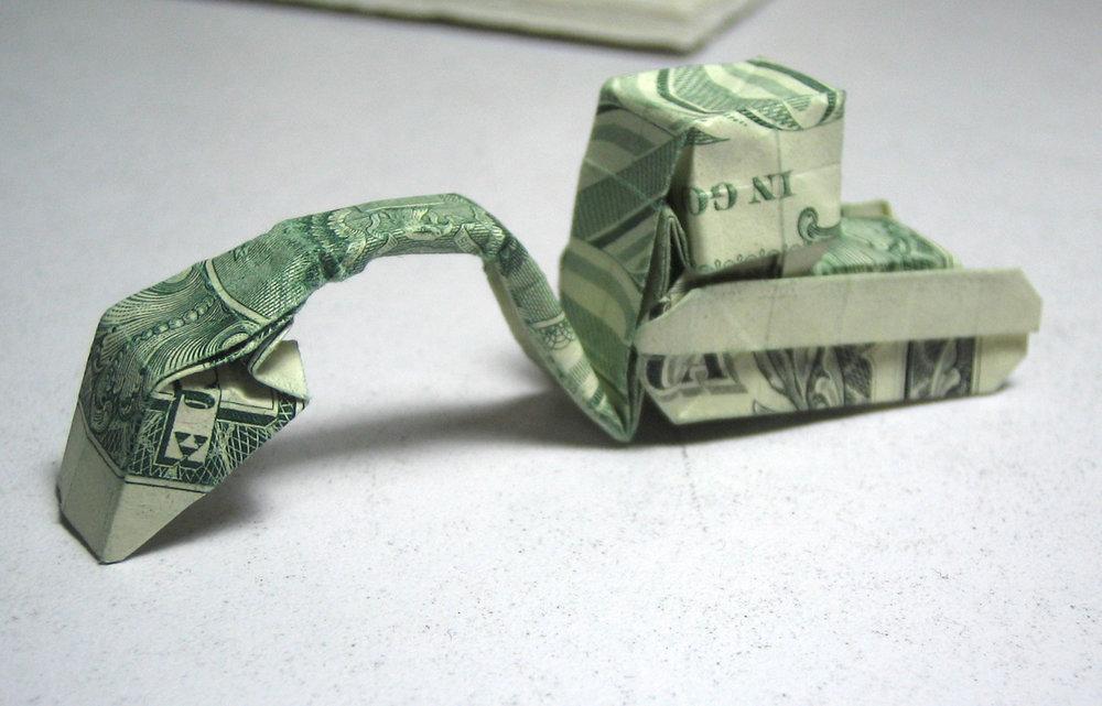 Excavator Dollar Bill Origami Moneygami