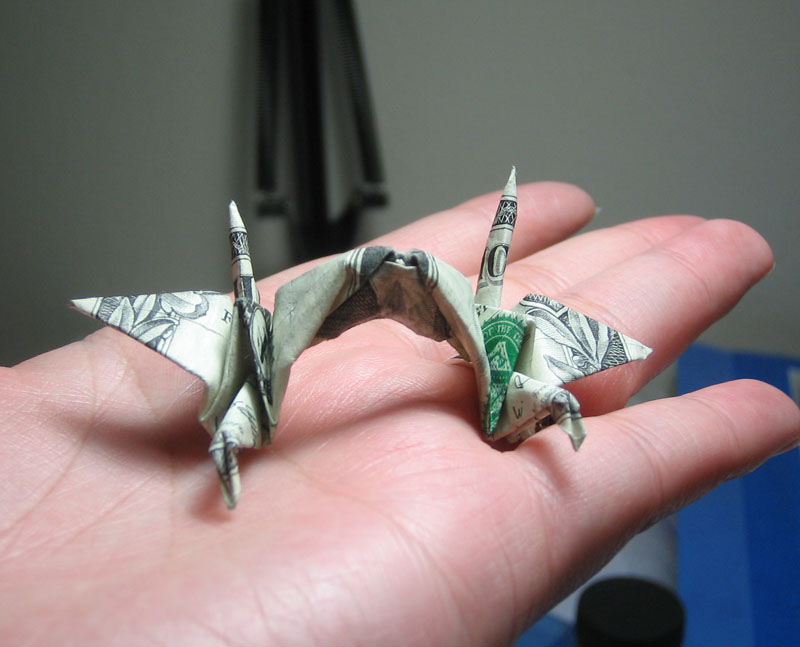 Double Crane Dollar Bill Origami Moneygami
