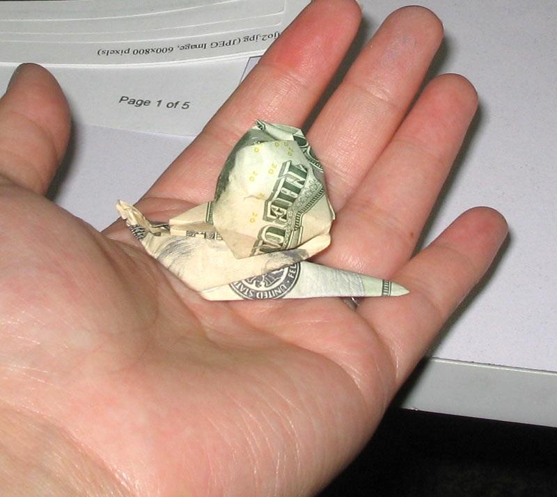 Snail Dollar Bill Origami Moneygami