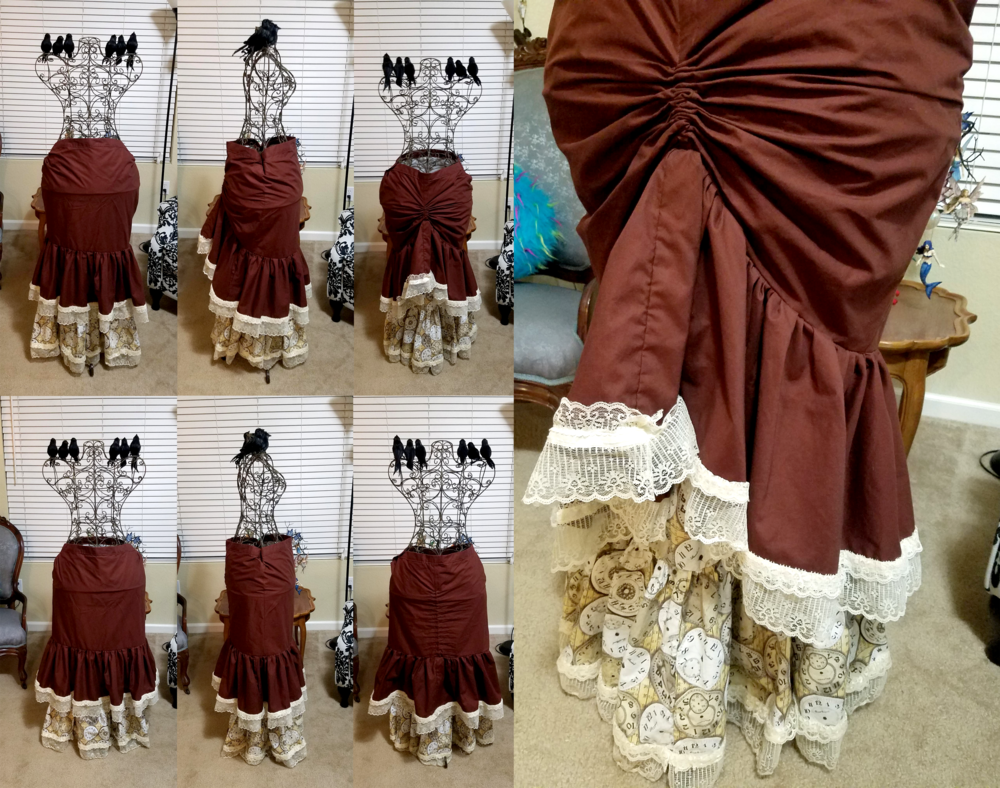 Steampunk Ruched Ruffle Skirt
