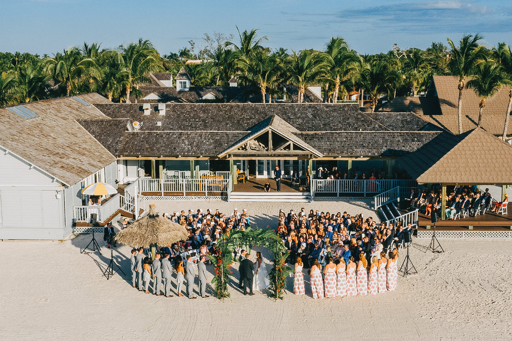 Wedding image by a drone