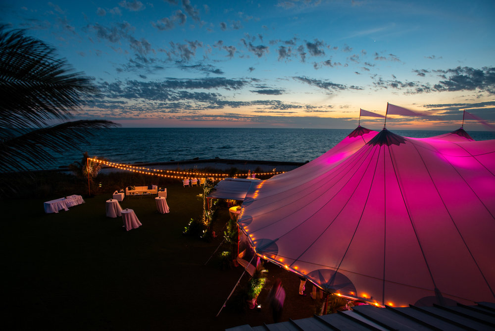 Sunset reception under the tent