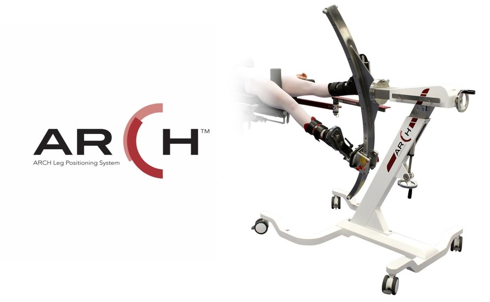 The ARCH table (also known as the ARCH table extension) is a great alternative to a full size fracture table like the MIzuho OSI Hana Table. It can be used for anterior approach total hip arthroplasty (AATHA), as well as femoral fractures (Intramedullary nailings).