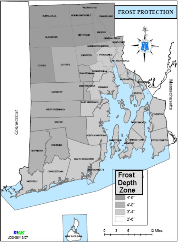 Rhode Island Frost Depth Map. Figure 1609 (B) from the SBC-1 (2013) RI State Building Code.