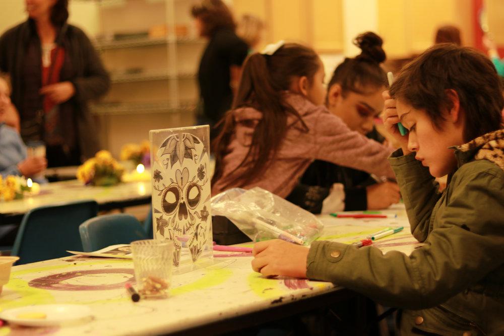 Kids DIY crafts at Lakewood Arts Gallery at 40 West Día de los Muertos 2018 |  Photo