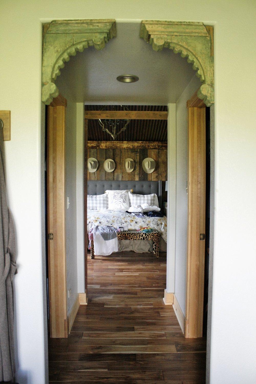 Reclaimed barnwood on wall and flooring