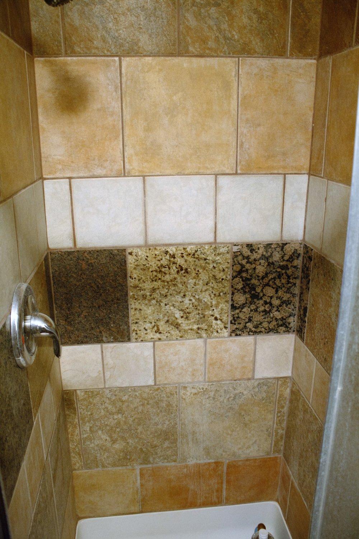 Shower build using left over tiles