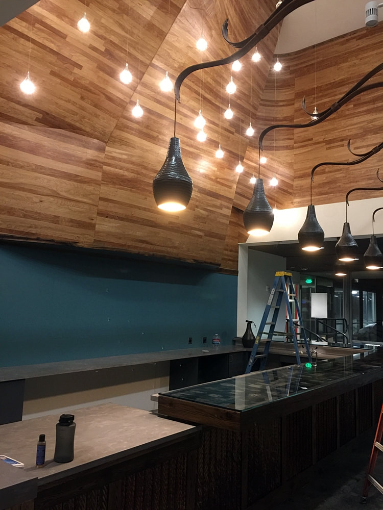Overlook bar build, existing climbimg wall framed out and skinned plywood and 40 LED lights