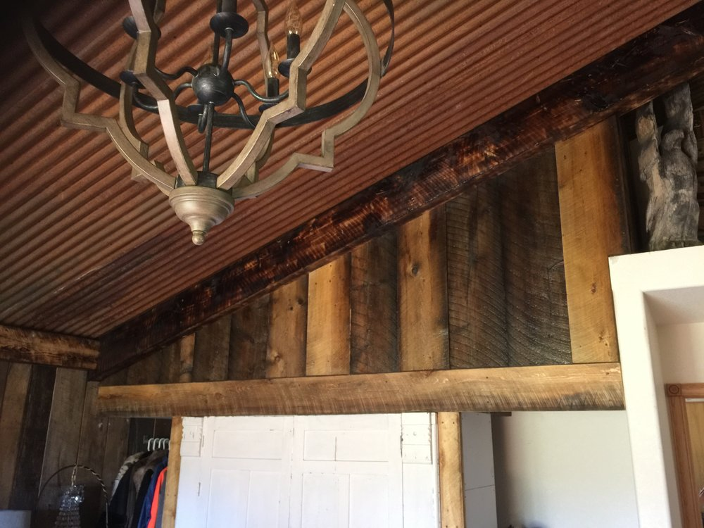 Close up of reclaimed wood walls