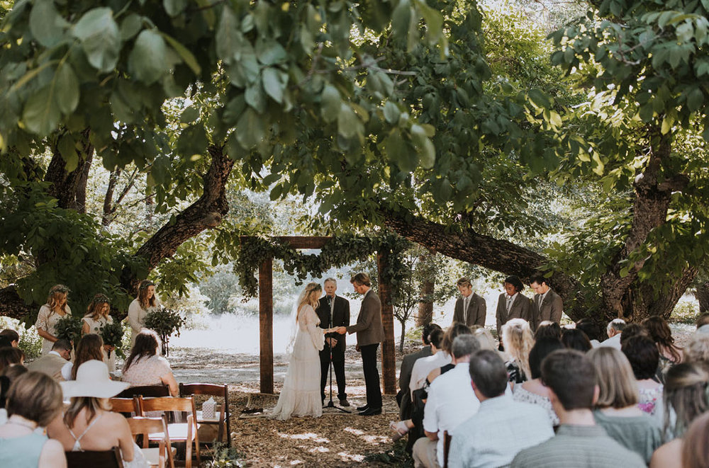 Hardwood Grove - Hardwood Grove makes for a truly romantic wedding ceremony setting. Shaded by great-grandfather Theodore Bailey's century old Black Walnut trees, it overlooks the lower valley and meadow for a peaceful agrarian backdrop.