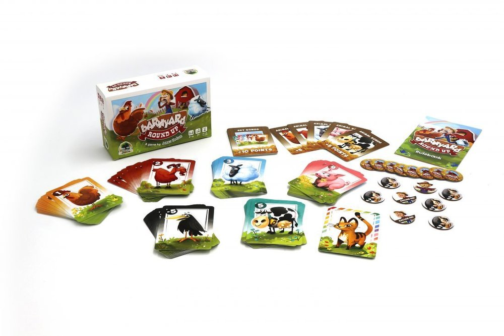 Barnyard Roundup - Barnyard Roundup is a family friendly bluffing game where players are making offerings to each other the catch is, they don't always have to tell the truth and it's the receiving player's duty to determine if they believe that person is being truthful. If they correctly guess then they'll reap the benefits, if they are incorrect, however, the bluffing player reaps the rewards. This game features beautiful artworks and can be taught in just 5 minutes. You can play a full game in about 10-20 minutes. It's recommended for ages 6 and up and I'd say that's an accurate estimate!