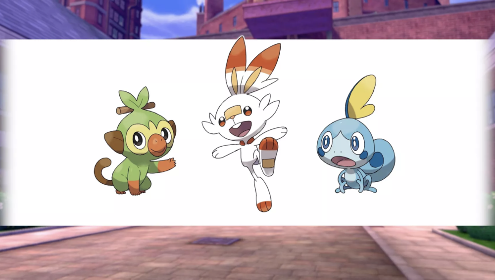 Grookey, Scorbunny, and Sobble