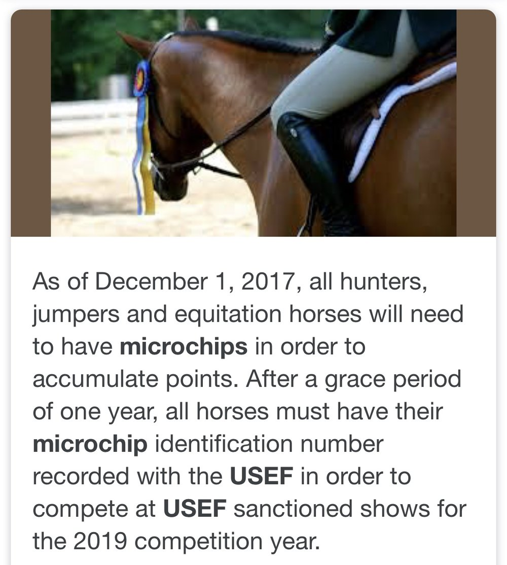 An example of USEF required chips for certain disciplines. The FEI also mandated microchipped upon application for a passport.