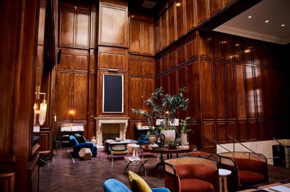 The lobby of the Adolphus hotel.
