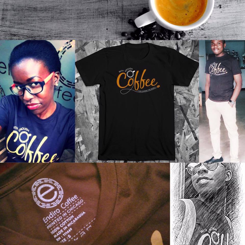 """Our new T-shirts capture the heart of Endiro. """"With enough coffee we can change the world!"""" This is our genuine conviction. This is why we are working from the tree to the cup to produce the best coffee we can and to bring holistic transformation to all the people we meet along the way. Pick up a shirt at any of  our locations  and join the cause.  Every shirt is 100% ringspun cotton, fitted cut with discharge printing. Quality is important to us, so we are bringing you the best."""