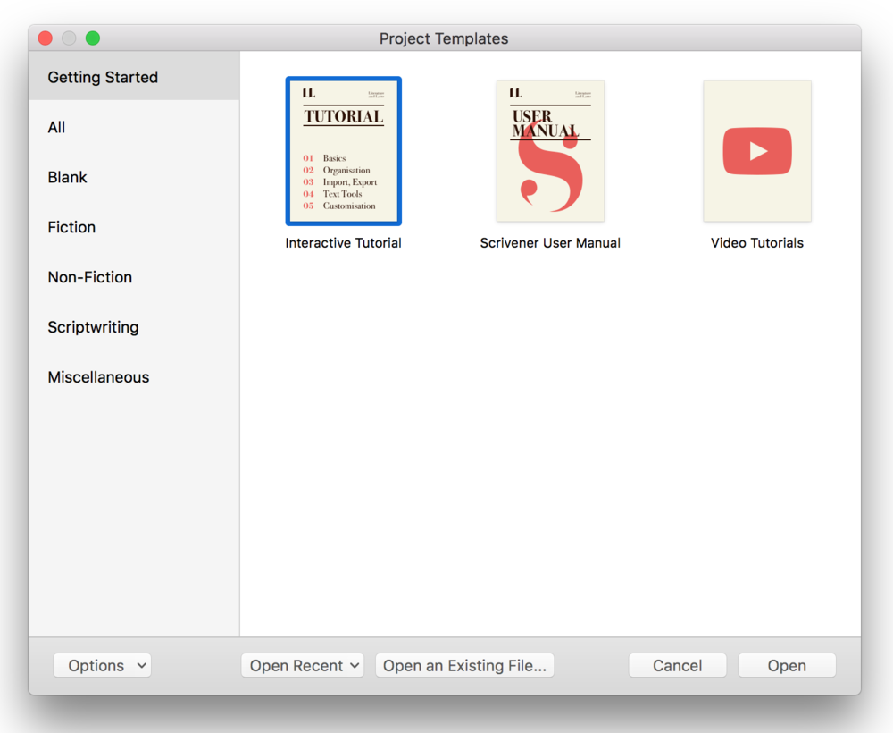 Scrivener Project Templates Page