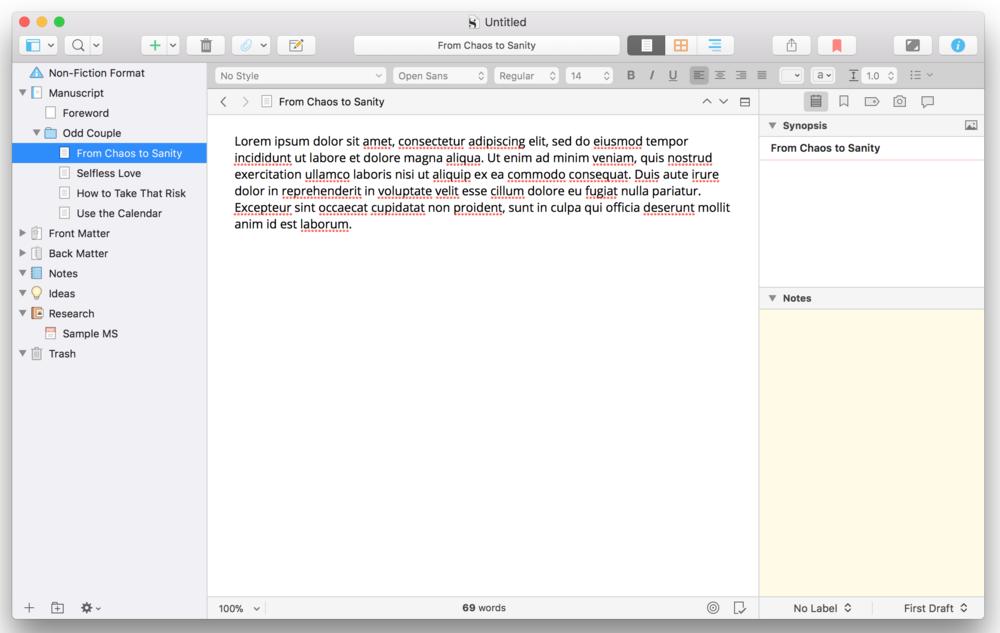 Scrivener Subpoint