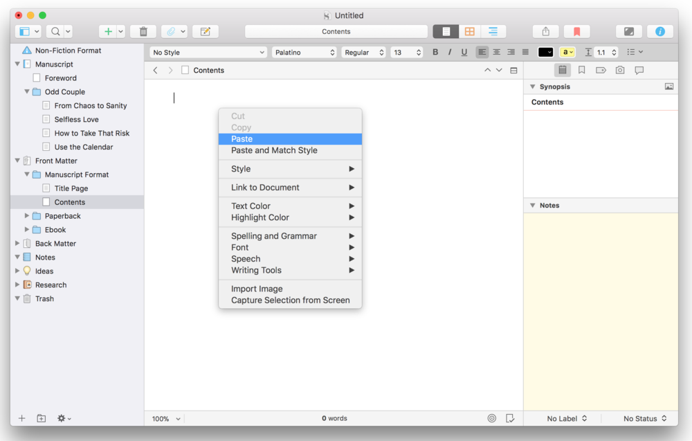 Scrivener Table of Contents 2