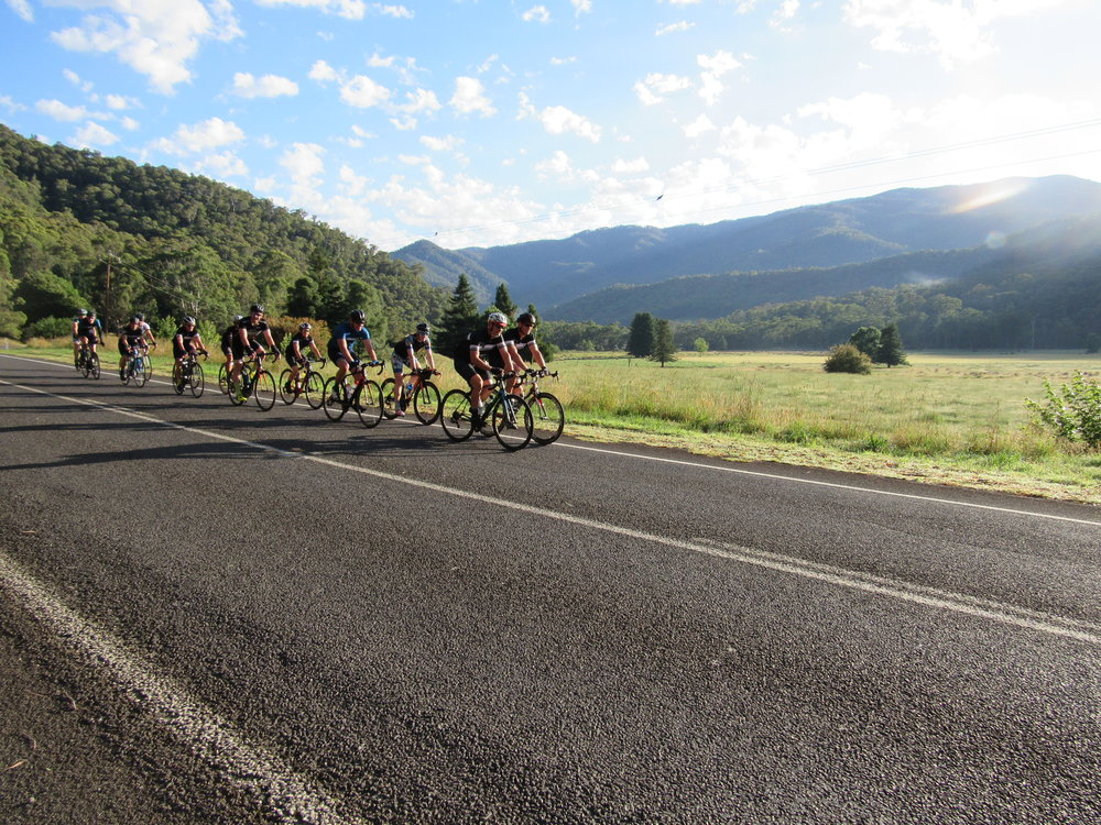 Rolling out to Harrretville to climb Mt Hotham