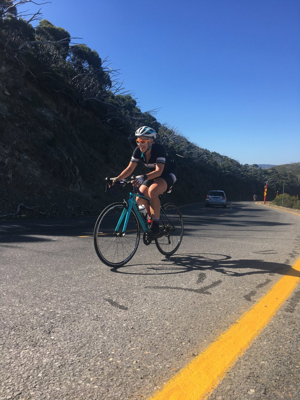 Lynda close to the top of Mt Hotham and loving it