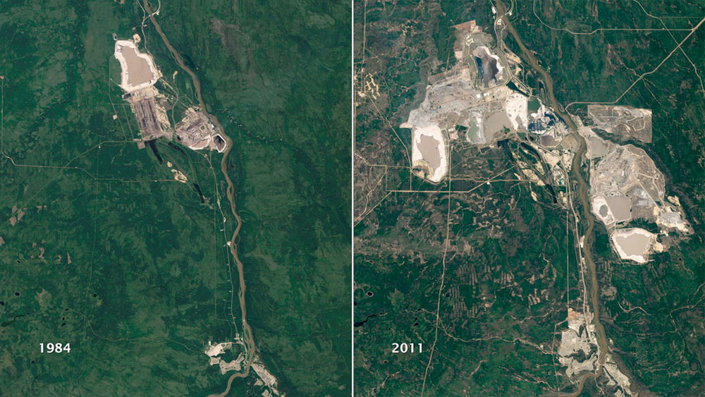 These are images from 1984 [left] and 2011 [right] of strip mining activity in the  Athabasca oil sands,  about 50 km north of Fort McMurray Alberta.