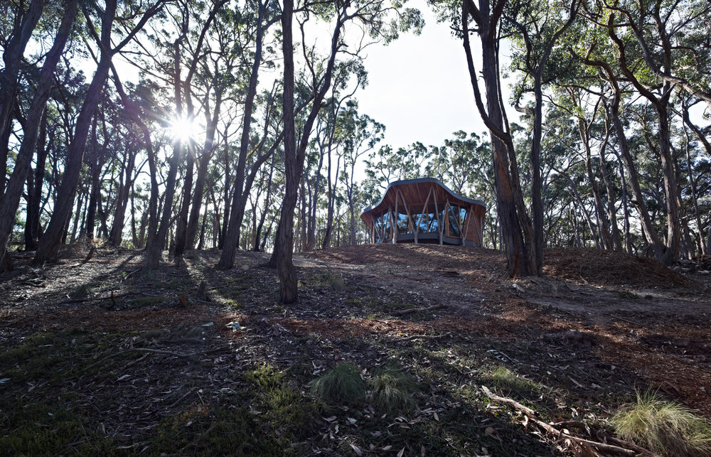 Paul Morgan Architects The Trunk House forest retreat Victoria's Central Highlands exterior day