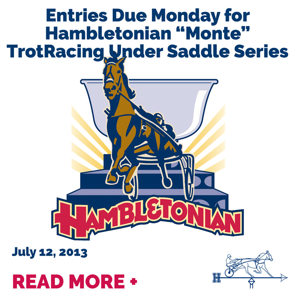 """Entries Due Monday for Hambletonian """"Monte"""" TrotRacing Under"""