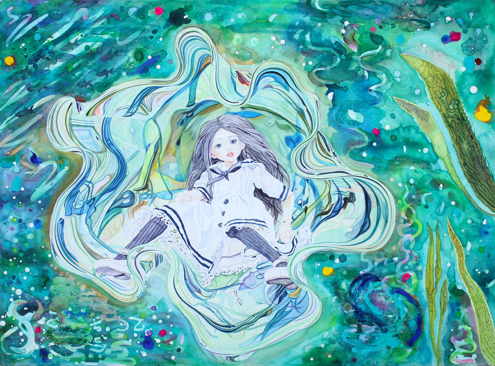 Ophelia , Watercolour & Gouache on Paper, 2017