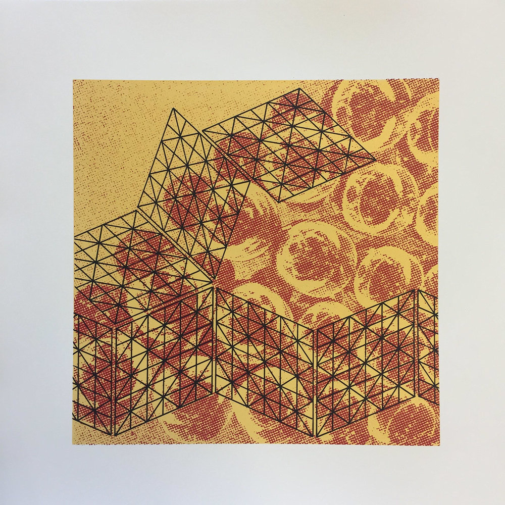 Lubna Ali -  Orange Wine #2 , Screen-print on Canaletto paper (2018)