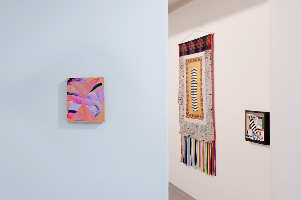Install shot featuring work by Lisa Denyer (left) and Valeria Maculan (right),  Sobre fragmentos y materia , Kir Royal. Photo by Michael Thorp, courtesy of Lisa Denyer