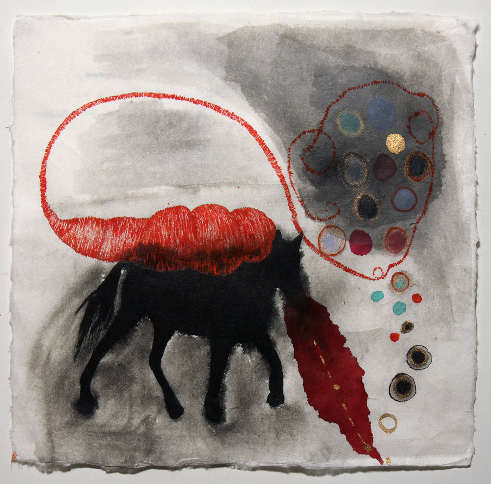 Blood Horse (Burdened) , watercolour on handmade paper (2017)