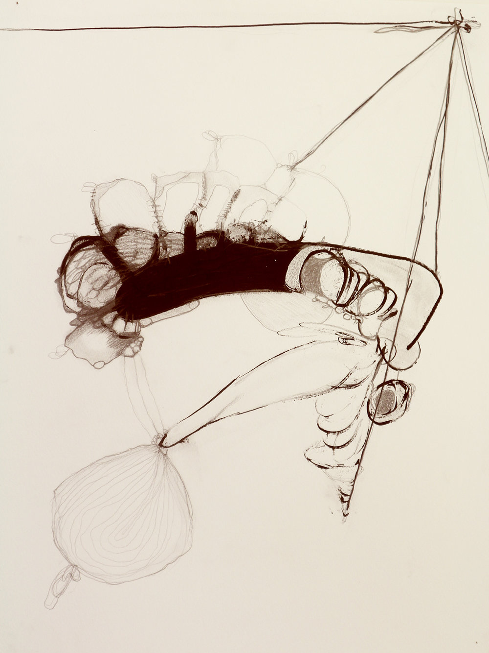 Suspended Form with stocking , ink and graphite on paper, 2018