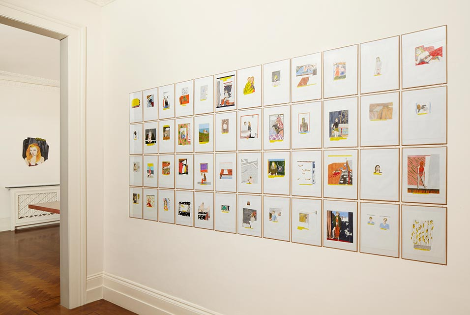 Be Young, Be Wild, Be Desperate  , coloured pencil on paper, 60 drawings, install shot, 2014