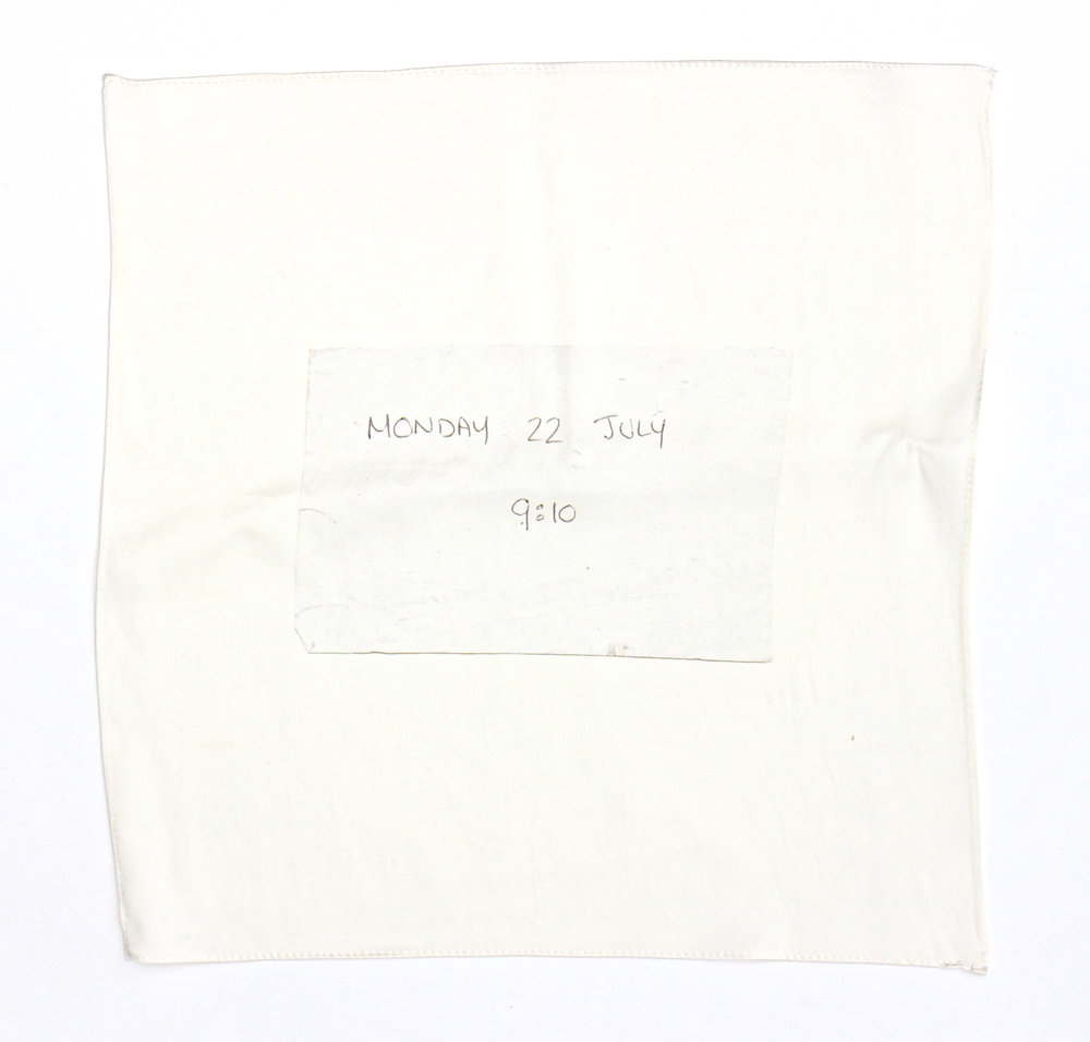 Found note silk hankie (Monday),  100% silk satin with hand stitched edge