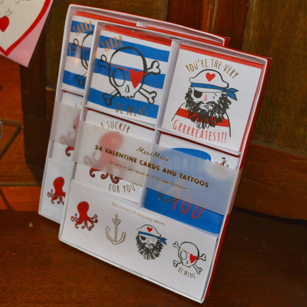 Box of 24 Pirate Valentine Cards & Tattoos