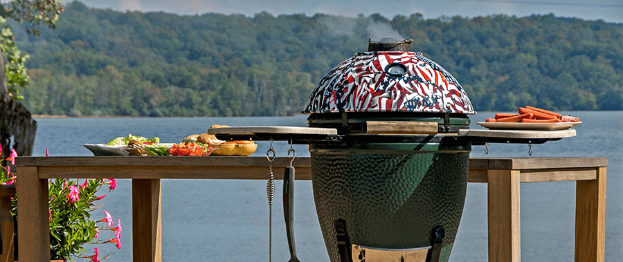 Pictured Above: The American Flag Armor Shield installed on The Big Green Egg