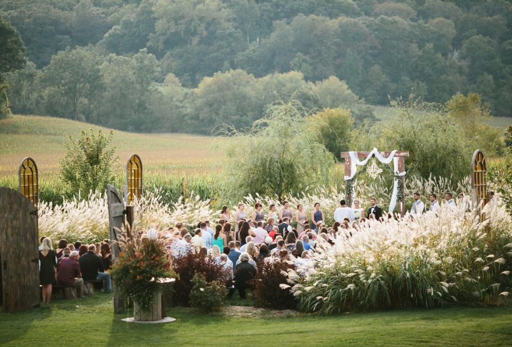 Meadow wedding ceremony