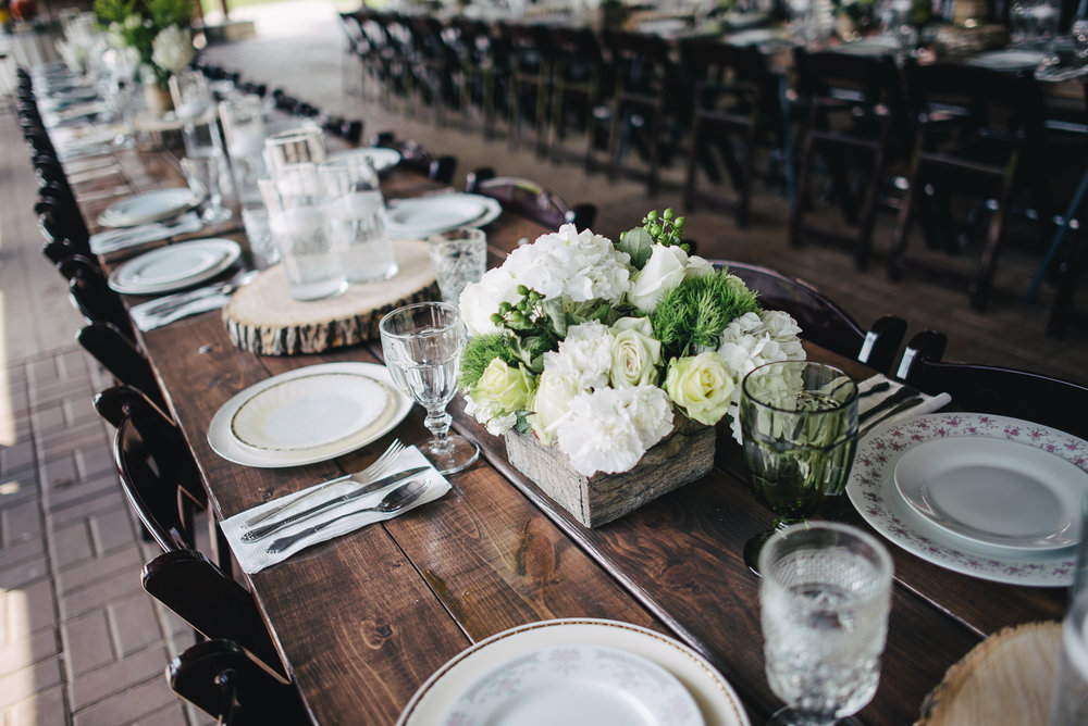 Rustic wedding dinner tables