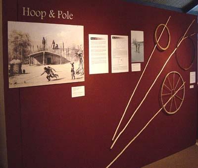 Three styles of hoop & pole game - (top to bottom):Sierra Miwuk-1' hazel hoop wrapped with buckskin.5' hazel pole.Northern Pomo-16