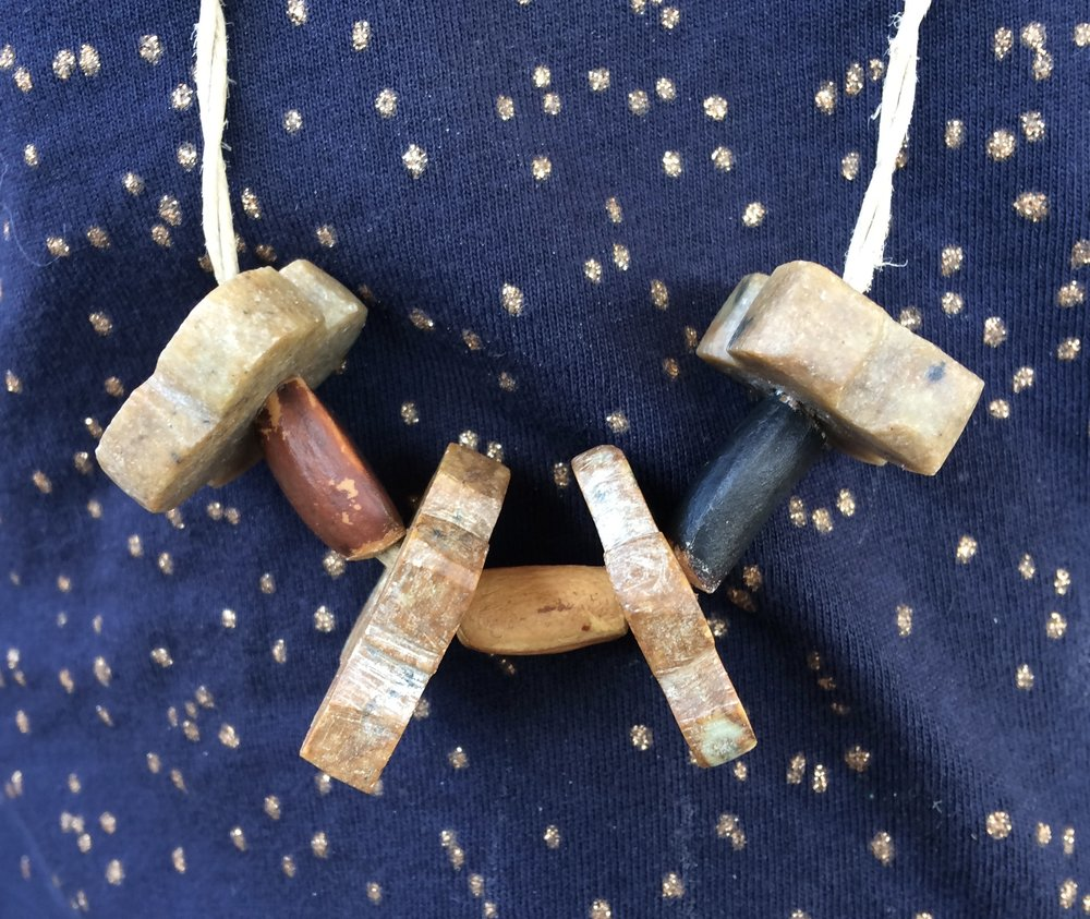 "Soapstone & pine nut bead necklace made ""from scratch"""