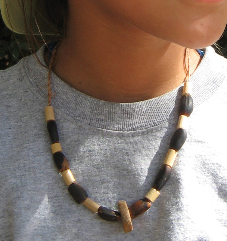 Pine nut, willow stick & soapstone bead necklace
